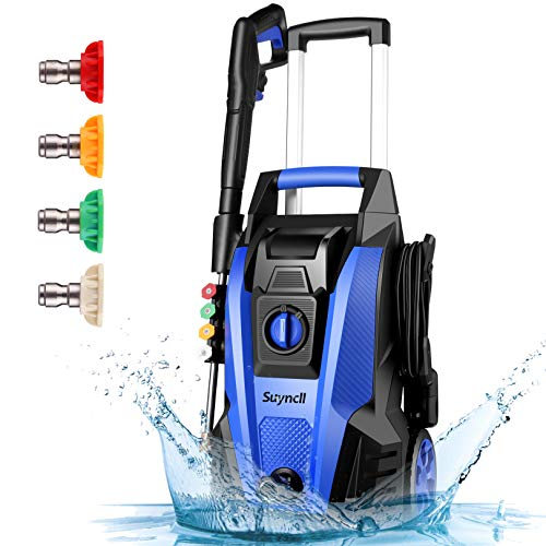 Power Washer, Suyncll Pressure Washer 3800 Max PSI 2000W Electric Portable High Pressure Cleaner Machine with 4 Nozzles, Detergent Tank , for Homes, Cars, Driveways, Fences, Patios (Blue)