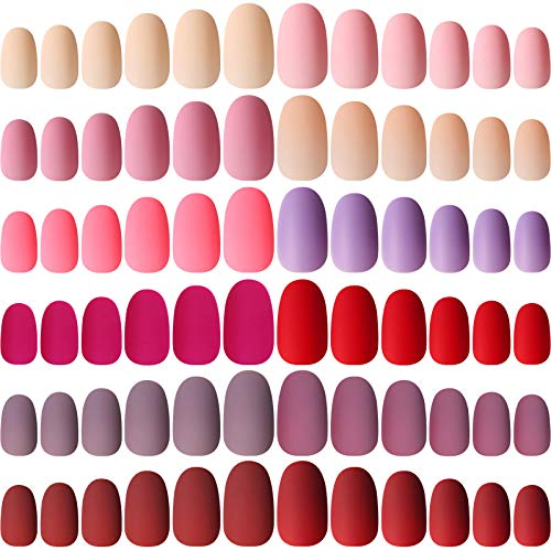 288 Piece 12 Colors Colorful Short False Nails Short Oval Matte Fake Nails Full Cover Coffin Press on Nails Solid Color Artificial Nails Tips False Nail Art for Women and Girls (Assorted Colors)