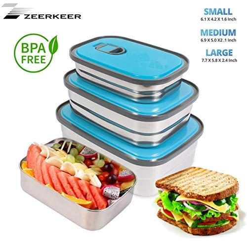 Bento Box,Zeerkeer Lunchbox 3 teiligem,Edelstahl Brotdose Kinder PP Auslaufsicher ohne BPA Besteck für Kinder & Erwachsene Essenslager Gemüse Obst Salat【1160ml 730ml 420ml 】(Blau)
