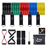 KMM Resistance Bands Set 12pcs, Exercise Bands Figure 8 Resistance Band with Door Anchor, Handles, Ankle Straps, Stackable Up to 150 lbs for Resistant Training, Physical Therapy, Home Workout