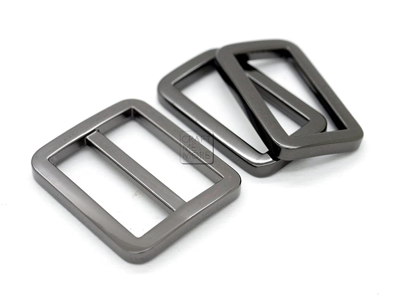 CRAFTMEmore 1SET Gunmetal Black FLAT Purse Slider and Loops 1PC Slide Buckle with 2PCS Rectangular Rings Leather Craft (1 Inches)