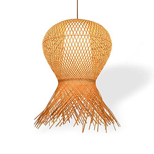 SHUANF Lámpara colgante de linterna retro de ratán del sudeste asiático, Sombra de bambú en espiral, Dormitorio Sala de estar Lámpara de techo Lámpara colgante E27 de un solo cabezal para salón de té,