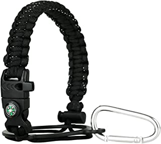 DELFINO Handle Fits Wide Mouth Bottles 12oz to 64oz Durable Carrier, Carrier Strap Cord with Safety Ring, Compass and Cara...