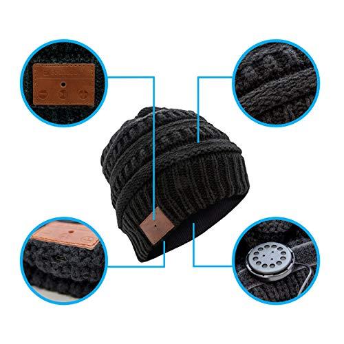 SoundBot¨ SB210 HD Stereo Bluetooth 4.1 Wireless Smart Beanie Headset Musical Knit Headphone Speaker Hat Speakerphone Cap,Built-in Mic (Cable/Black)