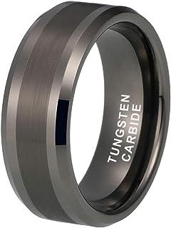 iTungsten 6mm 8mm Silver/Black/18K Gold/Rose Gold/Gunmetal Tungsten Carbide Rings for Men Women Wedding Bands Beveled Edge...