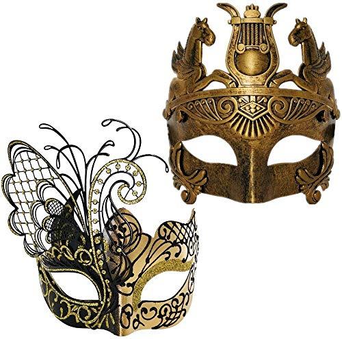 Mscara de Mardi Gras, mscara annima, mscaras de disfraces, accesorios de halloween, mscara de la cabeza, cara de la cara / cisne negra Mujeres mscara y oro guerrero romano hombres mscara de las