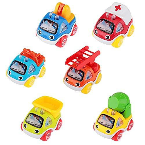 Juguete Coches para Niños 1 2 3 Años, Vehículos de Construcción Coche de Juguete Coche de Friccion Camion de Juguete, Tire hacia Atrás el Coche de Juguetes para Niños y niñas