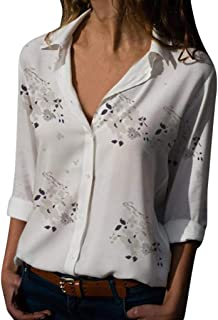 Orangeskycn Women Shirt Roll-up Sleeve Plaid Printed V-Neck Irregular Hem Blouse