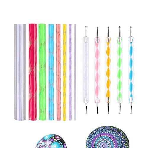 13-teiliges Mandala-Kunst-Mal-Set für Malerei, Stein, Stift und Punktwerkzeuge für Mandala-Art-Fels-Malerei, Kinder-Handwerk, Nagelkunst (Basic)