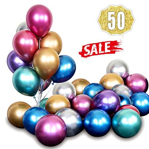 Hoshin Globos metálicos cromados brillantes de látex de 30 cm de grosor para bodas, fiestas, baby shower, Navidad, cumpleaños, carnaval, fiesta, suministros de decoración por (50 unidades)