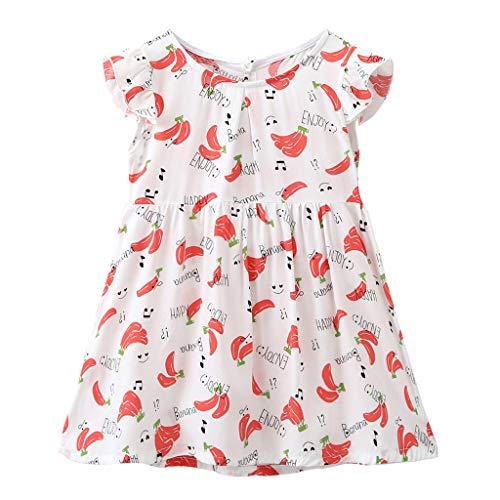 Janly Clearance Venta Vestido de niña para niños de 0 a 10 años de edad, bebé niña con estampado floral vestido de princesa, ropa de verano, rojo, 18-24 meses