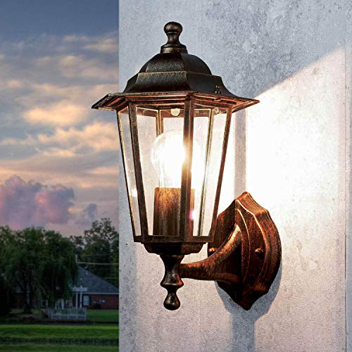 PARIS Nostalgische Wandlaterne Außen in Kupfer Antik wetterfest IP44 E27 Rustikale Balkon Lampe Outdoor