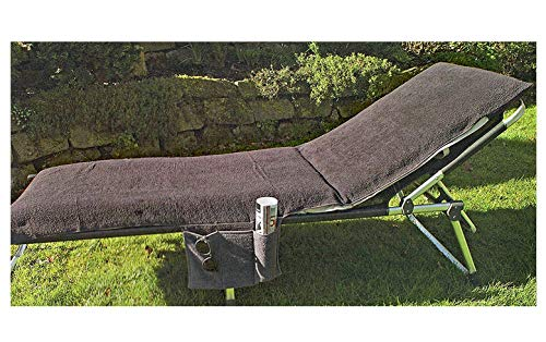Heimtexland® Typ436 Coussin pour chaise longue avec 2 poches latérales 200 x 70 cm 100 % coton – Housse éponge souple de protection pour chaise longue au jardin, à la plage, en vacances – Doux pour la peau & absorbant – testé selon label Ökotex – Serviette Housse Coussin pour bain de soleil, 100 % coton, anthracite, 200x70 cm