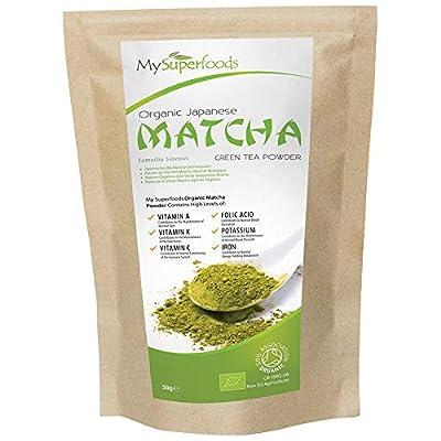 Poudre de Thé Vert Matcha Japonais Bio, MySuperFoods, Davantage d'antioxydants que tout autre aliment, Source riche en nutriments, Thé de Qualité Premium, Certifié biologique