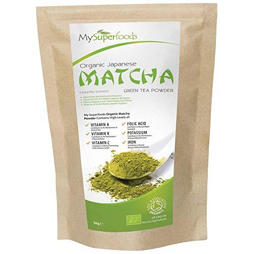 Bio Matcha Grüner Tee (50 Gramm), MySuperFoods, Mehr Antioxidantien als jedes andere Essen, Reiche Quelle von Nährstoffen einschließlich Vitamin A, C und K, Premium-Qualität Tee|Bio-Zertifizier