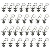 iMagitek 30 Pcs Silver Tone Guardian Angel Keychain Key Ring Charm for Baptism