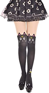Women's Cute Anime Sailor Moon Luna Cat Printing Legging Tights Socks Cosplay Costume Pantyhose