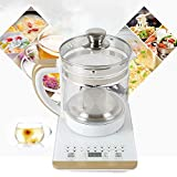 Multifunctional Stainless Steel Electric Kettle 800W 110V White, Electric Kettle,2L Glass Electric Tea Kettle Coffee Pot,Multifunction Electric Health Pot Kettle Water Heater Coffee Tea Coffee Maker, Smart Touch Panel, 18 Smart Menu Hot Water Boiler