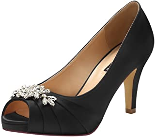 ERIJUNOR Peep Toe Mid Heels for Woman Rhinestones Satin...
