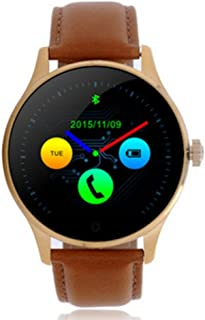 K88H Smart Watch Heart Rate Monitoring Wristwatch Bluetooth APP Support for Pedometer Sleep Monitor iOS and Android Phone (Gold Leather)