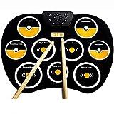 Big Shark Set de batería electrónica, plegable portable rueda for arriba el 9 de ratón eléctrico Tambores Kit, Drum Pad de práctica for los niños y adultos principiantes del batería por niños principi