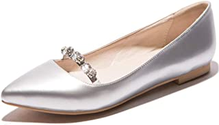 Cosplay-X Womens Plus Size Ballet Flats Casual Pointy Toe Flats Slip on Loafers Shoes Crystal Wedding Dress Shoes