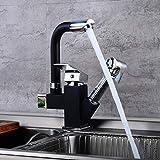 Grifo de cocina giratorio 360°, con alcachofa extraíble, para agua fría y caliente, latón cromado, fácil montaje