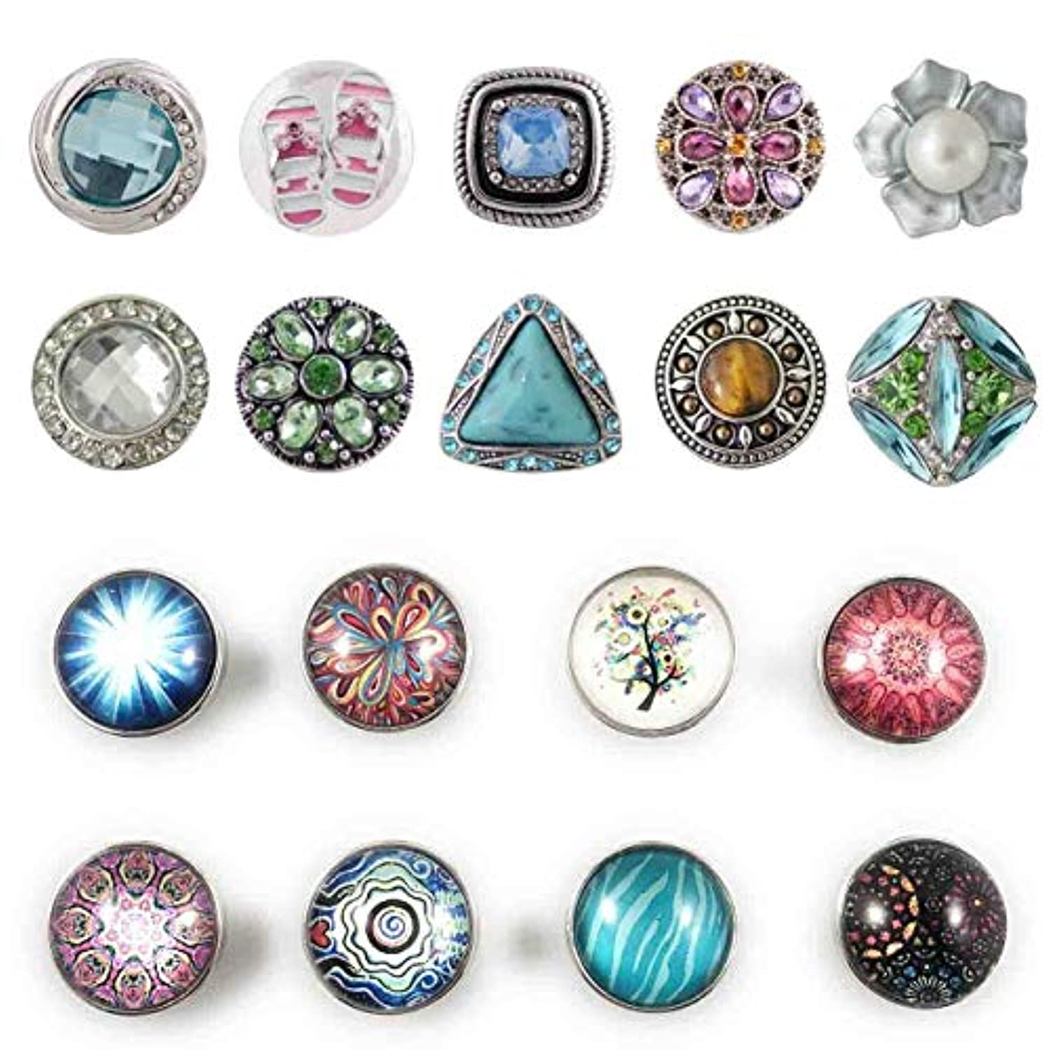 Mixed Set of 5 Snap Charms 20mm 3/4