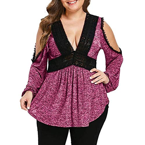 HX fashion Regalo para El De La Día Madre Moda Mujer Tamaños Cómodos Estampado Floral Tallas Grandes Cinturón Sobrepelliz Blusa De Peplum Cuello En V Tops (Color : X-Violett, One Size : Eu-44/Cn-3Xl)