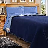 Poyet Motte Aubisque 500GSM Heavyweight Wool Blanket (Navy/Blue, Full/Queen Size)