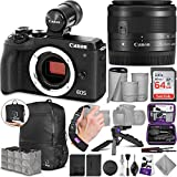 Canon EOS M6 Mark II Mirrorless Digital Camera and 15-45mm Lens + EVF-DC2 Viewfinder with Altura Photo Advanced Accessory and Travel Bundle