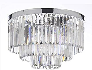 Palladium Empress Crystal (tm) Glass Fringe 3-Tier Flush Chandelier Chandeliers Lighting Chrome Finish H 17.5