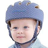 IULONEE Casco de protección para bebé, gorra protectora para cabeza de bebé, gorra de algodón ajustable(Azul elegante)