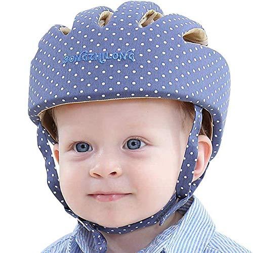 IULONEE bébé casque de protection pour enfant Chapeau infantile Tête de protection Chapeau de coton pour enfant réglable casque de sécurité (Bleu élégant)