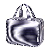 Large Hanging Toiletry Bag Travel Makeup Bag Cosmetic Organizer for Women and Girls (Blue Stripe)