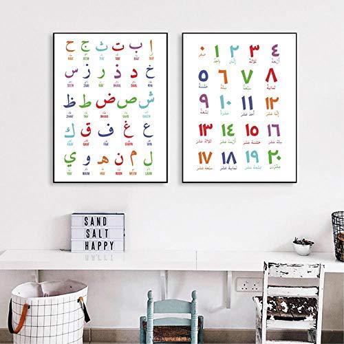 YDGG afbeelding muurkunst canvas schilderij Islami afbeeldingen letters cijfers poster druk alfabete kinderkamer wooncultuur 50 x 70 cm x 2 stuks. Geen lijst