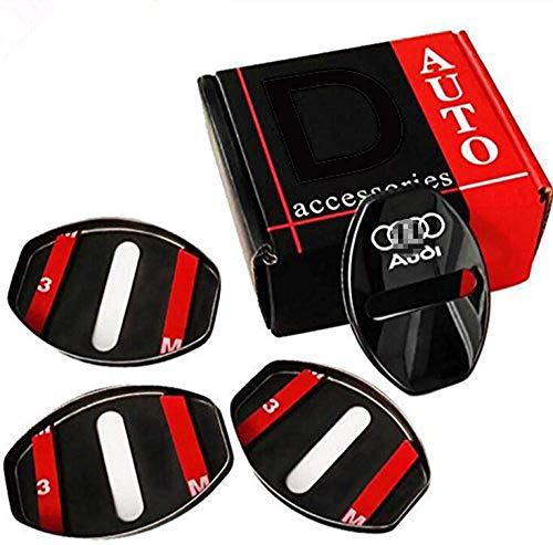 L&U 4Pcs Türschloss Zierabdeckung Edelstahl-Tür-Verschluss-Abdeckungs-Schutz für Audi A1 A4 A5 A6 A7 A8 Q3 A3 Q5 Q7,Schwarz