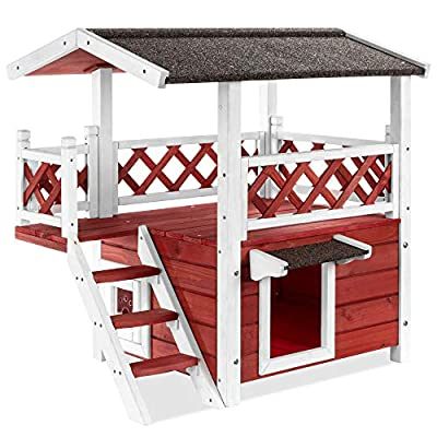 Best Choice Products 2 Story Fir Wood All-Weather Pet House for Indoor, Outdoor w/Stairs, Asphalt Roof, Raised Bottom