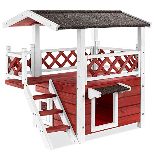 Best Choice Products 2 Story Fir Wood All-Weather Pet Cat & Dog House for Indoor, Outdoor w/Stairs, Enclosed Lounge & Open Space, Asphalt Roof,...