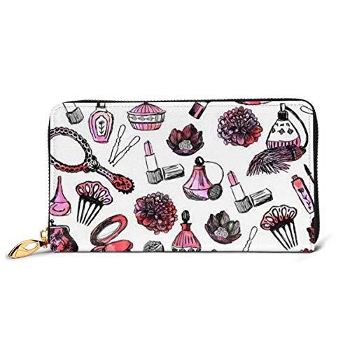 Lawenp Brieftasche gedruckt Brieftasche Leder Reißverschluss Brieftasche Aquarell rosa Nagellacke Blumen drucken Reise Brieftasche Telefon Clutch Geldbörse Kartenhalter Organizer für Frauen Mädchen