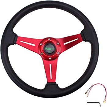 "RASTP Universal Racing Steering Wheel 12.5/""//320mm15 Bolts Grip Vinyl Leather /& Aluminum with Horn Button for Car Boat Truck Yacht-Blue"