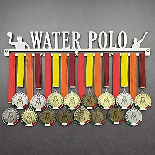 Water Polo - Colgador de medallas Deportivas - Medallero de Pared Polo Acuático, Waterpolo - Sport Medal Hanger - Display Rack (600 mm x 100 mm x 3 mm)