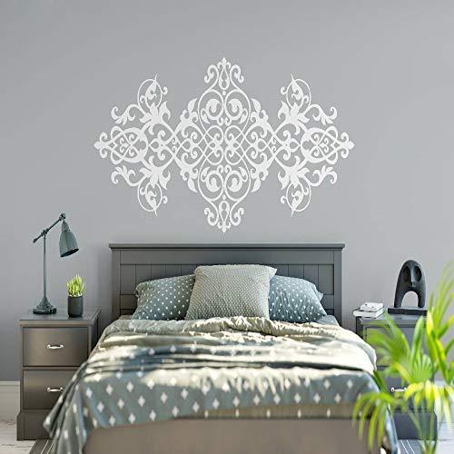 YuanMinglu Vintage Kopfteil Wandtattoo Barock Design Mandala Blume Vinyl Wandtattoo weiß 127X57cm