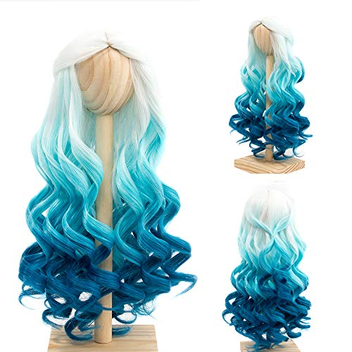 MUZIWIG High Temperature Doll Hair Wig, Long Winky Curly White Ombre Blue Synthetic Fiber Hair Wig BJD Doll Wigs for 1/3 BJD SD Doll (White Ombre Blue)