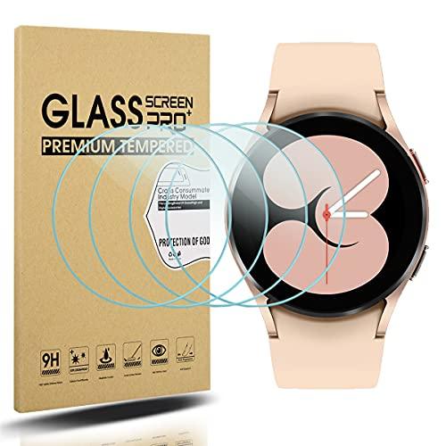 Diruite 4-Pack Compatible con Samsung Galaxy Watch 4 40mm Cristal Templado Protector Pantalla for Samsung Galaxy Watch 4 40mm Smartwatch [9H Dureza Antiarañazos] [HD Film Transparente]