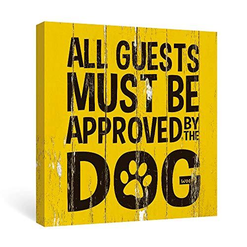 SUMGAR Canvas Muurkunst Zwart en Grijs Hond Citaat Prints Schilderijen Muurfoto's Gestrikt op Houten Ingelijst