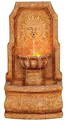 """John Timberland Sun Villa Faux Stone 37"""" H Outdoor Fountain with LED Lights"""
