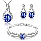 Menton Ezil Nobile Necklace Bracelet and Earrings Jewelry Sets with 18K-White-Gold-Plated for Women (Sapphire Blue)