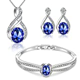 Menton Ezil Charming Nobile Swarovski Jewelry Sets with Sapphire Blue Necklace...