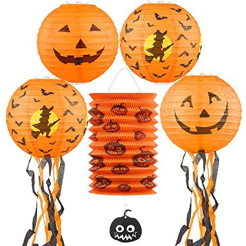 GeeRic Linternas Papel Halloween Paquete 5 linternas